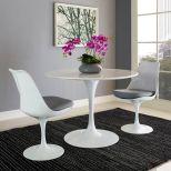 "✅ Lippa 40"" Round Wood Top Dining Table (White) | VivaSalotti.com | pic"