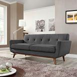 ✅ Engage Upholstered Fabric Loveseat (Gray) | VivaSalotti.com | pic