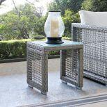 ✅ Aura Outdoor Patio Wicker Rattan Side Table in Gray   VivaSalotti.com   pic