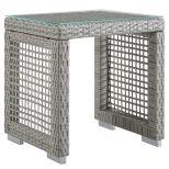 ✅ Aura Outdoor Patio Wicker Rattan Side Table in Gray   VivaSalotti.com   pic1