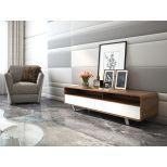 "✅ Gramercy Modern TV Stand for TVs up to 59"", Walnut/White   VivaSalotti.com   pic"