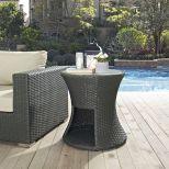 ✅ Sojourn Round Outdoor Patio Side Table in Chocolate   VivaSalotti.com   pic1