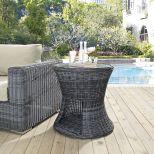 ✅ Summon Round Outdoor Patio Side Table in Gray | VivaSalotti.com | pic1