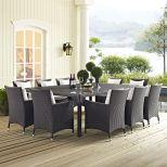 ✅ Convene 11 Piece Outdoor Patio Dining Set in Espresso White   VivaSalotti.com   pic