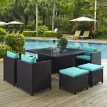 ✅ Inverse 9 Piece Outdoor Patio Dining Set in Espresso Turquoise   VivaSalotti.com   pic