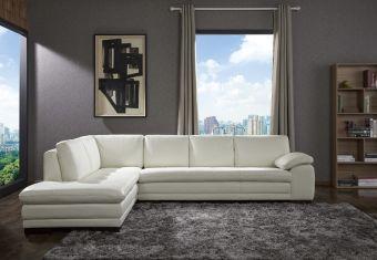 ✅ 625 Italian Leather Sectional White in Left Hand Facing   VivaSalotti.com   pic1