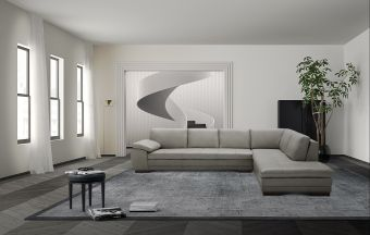✅ 625 Italian Leather Sectional Grey in Right Hand Facing    VivaSalotti.com   pic1