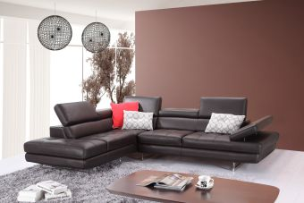 ✅ A761 Italian Leather Sectional Slate Coffee In Left Hand Facing | VivaSalotti.com | pic2