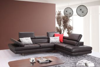 ✅ A761 Italian Leather Sectional Slate Coffee In Right Hand Facing | VivaSalotti.com | pic2