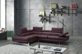✅ A761 Italian Leather Sectional Maroon In Left Hand Facing Chaise | VivaSalotti.com | pic4