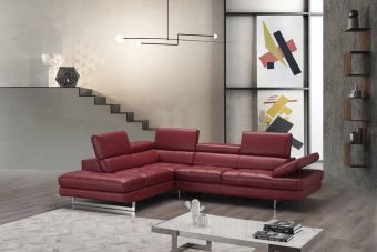 ✅ A761 Italian Leather Sectional Red In Left Hand Facing Chaise | VivaSalotti.com | pic8