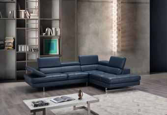 ✅ A761 Italian Leather Sectional Blue In Right Hand Facing Chaise | VivaSalotti.com | pic5