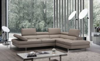 A761 Italian Leather Sectional, Right Hand Facing, Peanut