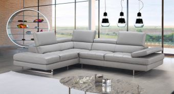 ✅ A761 Italian Leather Sectional Light Grey In Left Hand Facing | VivaSalotti.com | pic1