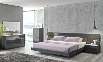 ✅ Braga Premium LED Platform Bedroom Set, Grey Lacquer | VivaSalotti.com | pic