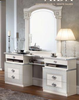 ✅ Aida Classic Vanity Dresser by ESF, White and Silver | VivaSalotti.com | pic1