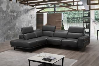 ✅ Davenport Leather Sectional Slate Grey In Left Hand Facing Chaise | VivaSalotti.com | pic1