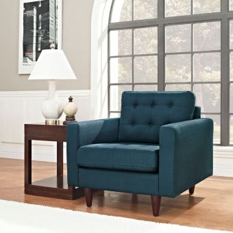 Empress Upholstered Fabric Armchair (Azure)