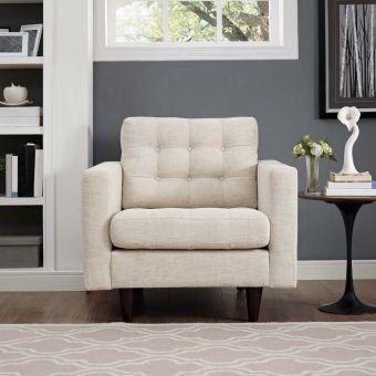 Empress Upholstered Fabric Armchair (Beige)
