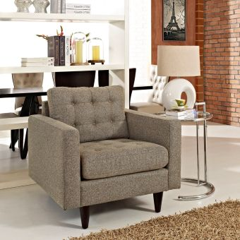 Empress Upholstered Fabric Armchair (Oatmeal)