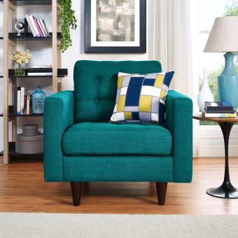 Empress Upholstered Fabric Armchair (Teal)