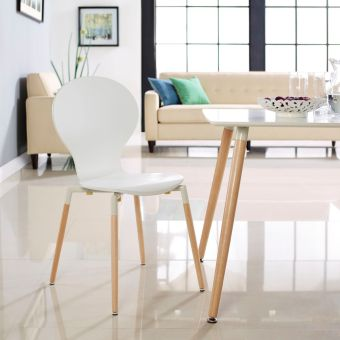 Path Dining Wood Side Chair (White)