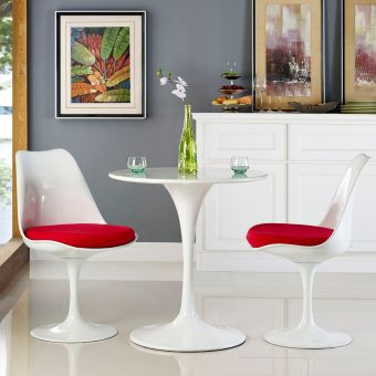 """Lippa 28"""" Round Wood Top Dining Table (White)"""
