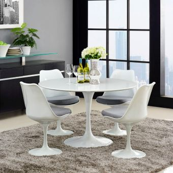 """Lippa 47"""" Round Wood Top Dining Table (White)"""