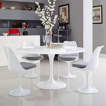 """Lippa 54"""" Round Wood Top Dining Table (White)"""