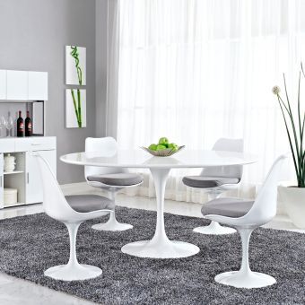 """Lippa 60"""" Round Wood Top Dining Table (White)"""