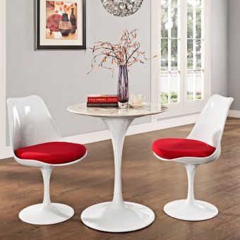 """Lippa 28"""" Round Artificial Marble Dining Table (White)"""