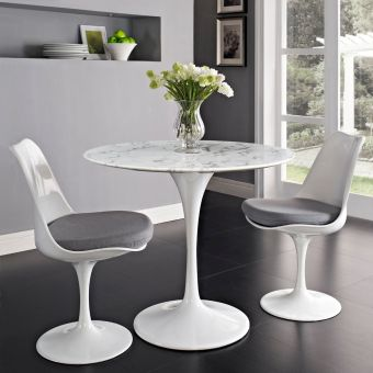 """Lippa 36"""" Round Artificial Marble Dining Table (White)"""