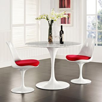 """Lippa 40"""" Round Artificial Marble Dining Table (White)"""