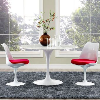 """Lippa 47"""" Round Artificial Marble Dining Table (White)"""
