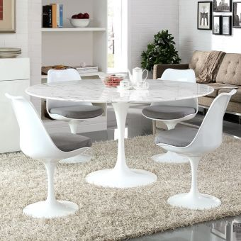 """Lippa 60"""" Round Artificial Marble Dining Table (White)"""