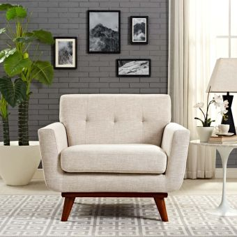 Engage Upholstered Fabric Armchair (Beige)