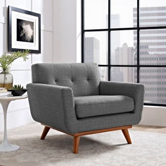 Engage Upholstered Fabric Armchair (Gray)