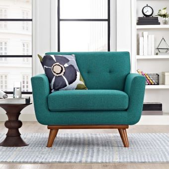 Engage Upholstered Fabric Armchair (Teal)