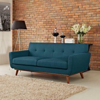 Engage Upholstered Fabric Loveseat (Azure)