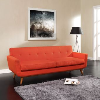Engage Upholstered Fabric Sofa (Atomic Red)