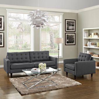 Empress Armchair and Sofa Set of 2 (Gray)