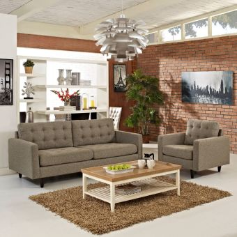 Empress Armchair and Sofa Set of 2 (Oatmeal)