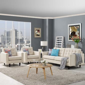 Empress Sofa and Armchairs Set of 3 (Beige)