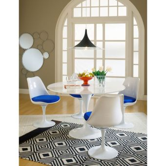 Lippa Dining Side Chair Fabric Set of 4 (Blue)
