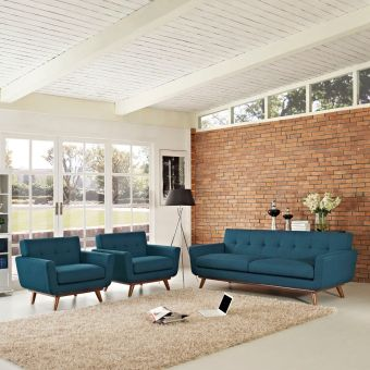 Engage Armchairs and Sofa Set of 3 (Azure)