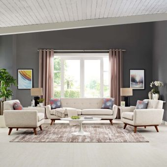 Engage Armchairs and Sofa Set of 3 (Beige)