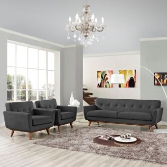 Engage Armchairs and Sofa Set of 3 (Gray)