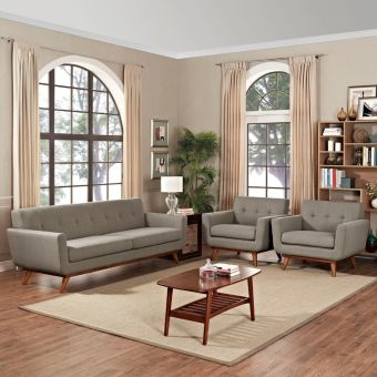 Engage Armchairs and Sofa Set of 3 (Granite)