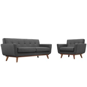 Engage Armchair and Loveseat Set of 2 (Gray)