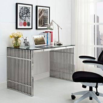 Gridiron Stainless Steel Office Desk (Silver)